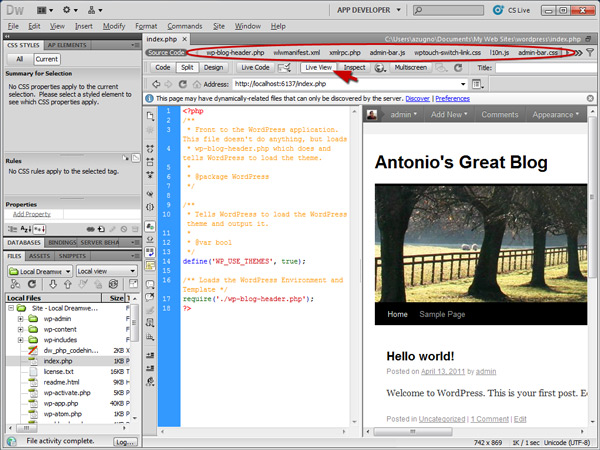 DreamWeaver Live View