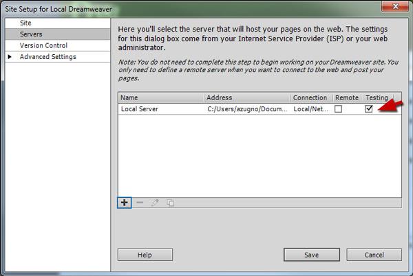 DreamWeaver Site Testing Checkbox